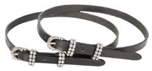 HH BLACK LEATHER SPUR STRAPS - CRYSTAL BUCKLE